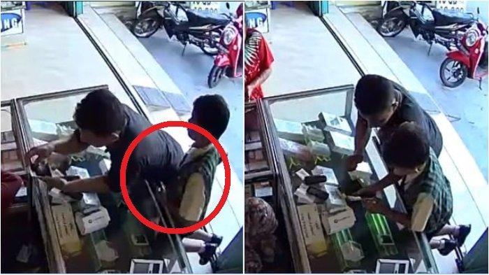 Viral di Facebook Video Detik-detik Pencurian di Konter Ponsel, Pelaku Ayah Dibantu Anak Lelakinya