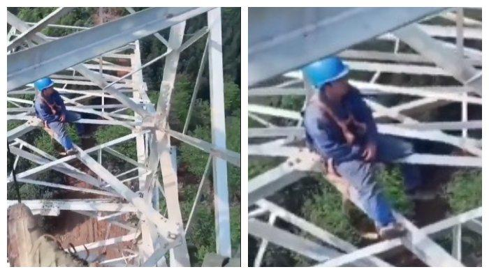 Viral di Facebook Video Pekerja Listrik Tidur di Atas Tower Tinggi,