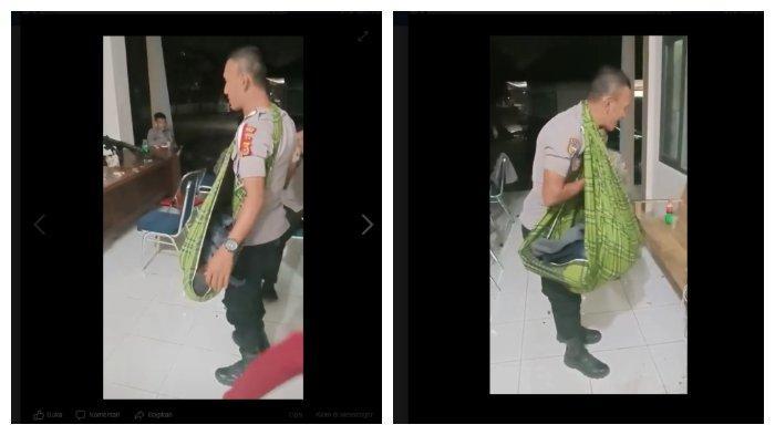 Viral di FB Potret Polisi Tugas sambil Gendong Anaknya