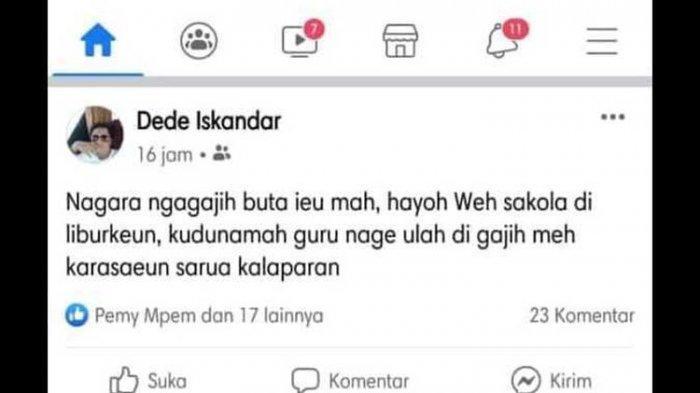 Viral Akun Facebook Hina Guru Makan Gaji Buta selama Wabah Covid-19, Ini Tindakan PGRI Garut