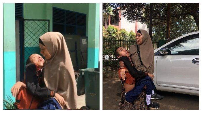 Viral kisah Winih Utami, antar jemput sang anak ke sekolah dengan menggendongnya
