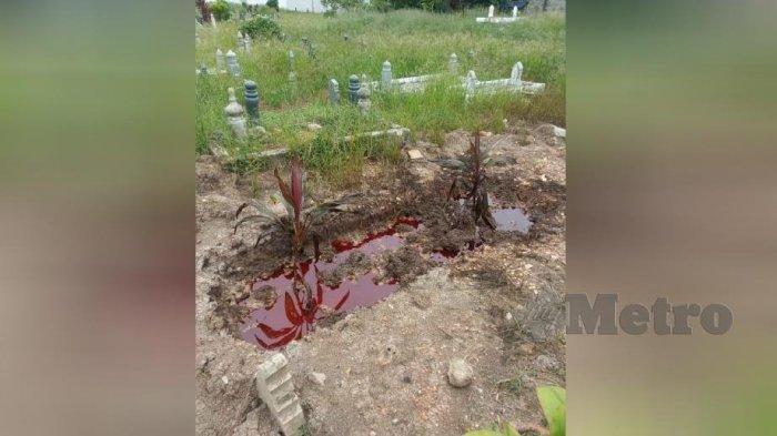 Viral Kuburan Digenangi Cairan Merah seperti Darah, Imam Masjid Ungkap Tabiat Almarhum semasa Hidup