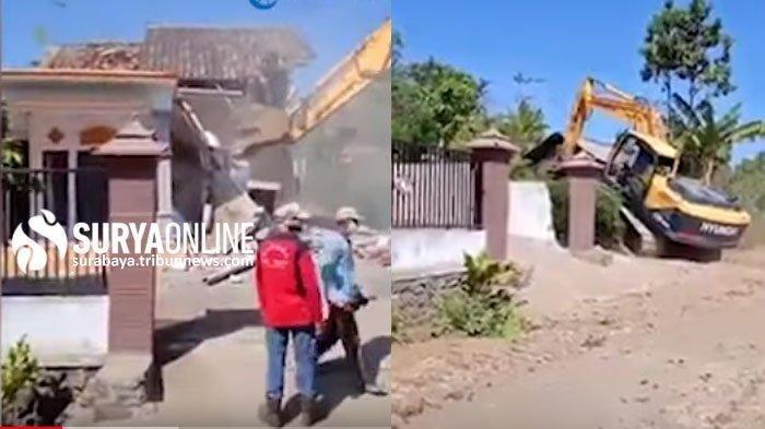 Rumah warga Donomulyo, Malang yang dihancurkan dengan alat berat