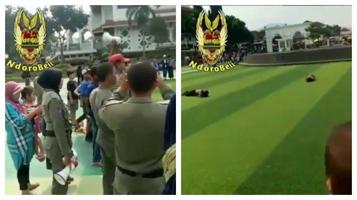 Viral di IG Satpol PP Hukum Dua Remaja di Cianjur dengan berguling di rumput alun-alun