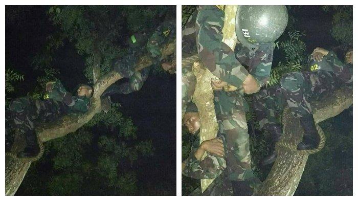Viral di FB Foto-foto Perjuangan TNI saat di Tengah Hutan, Tidur di Pohon dengan Badan Dililit Tali