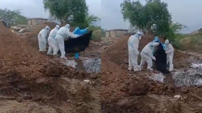 Viral Video 8 Mayat Dibungkus Plastik Dilempar dan Dibuang ke Dalam Lubang, Diduga Korban Corona