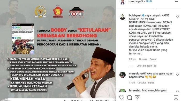 Wali Kota Medan Bobby Afif Nasution dan Anggota DPR RI Romo Syafii yang saling sindir di media sosial Instagram, Senin (26/4/2021).
