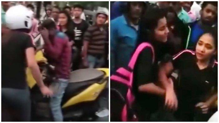Dua orang wanita yang marah menampar wajah pria dengan sandal jepit dan sepatu, diduga karena telah melecehkan dua wanita tersebut di jalan.