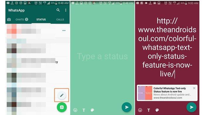 cara mudah insert link di status WhatsApp