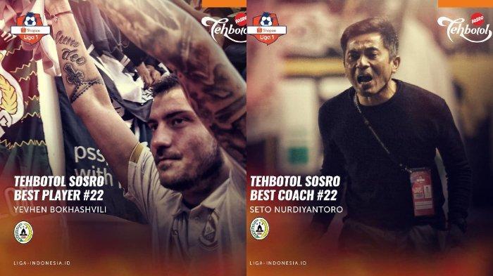 Yevhen Bokhasvili dan Seto Nurdiantoro Jadi Pemain dan Pelatih Terbaik Liga 1 Pekan 22
