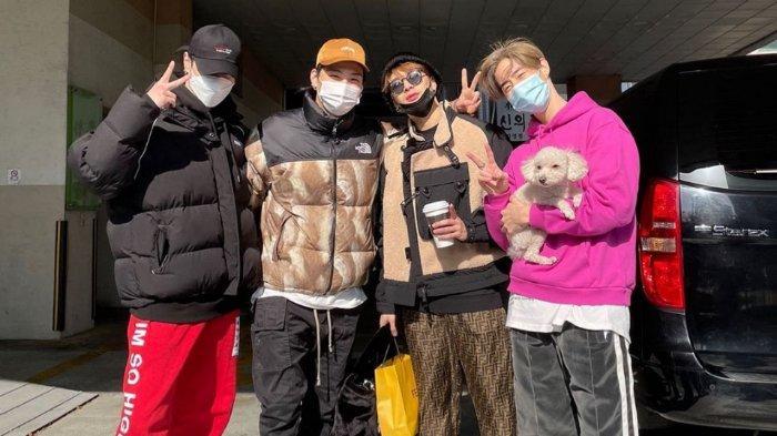 Yugyeom, JB, Jackson, mengantarkan Mark Got7 sebelum pulang ke LA, Amerika Serikat, Minggu (31/1/2021).