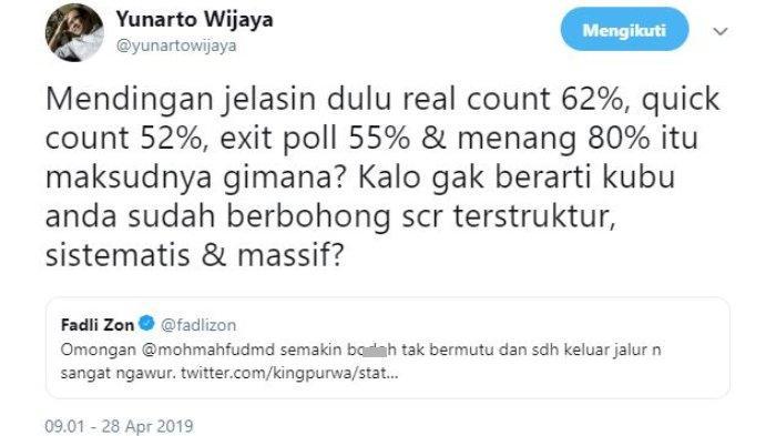 Direktur Eksekutif Charta Politica Yunarto Wijaya memberikan tanggapan atas Kicauan Wakil Ketua Umum Partai Gerindra, Fadli Zon yang menyinggung Mantan Ketua MK Mahfud MD.