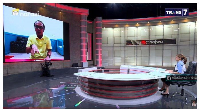 Direktur Eksekutif Charta Politika, Yunarto Wijaya, dan Presenter Najwa Shihab dalam acara Mata Najwa, Rabu (21/7/2021). Yunarto Wijaya mengaku sedih dengan adanya pejabat yang meminta diistimewakan di masa pandemi Covid-19.
